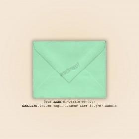 7x9cm Yeşil 1.Hamur Zarf 120gr/m² Zamklı