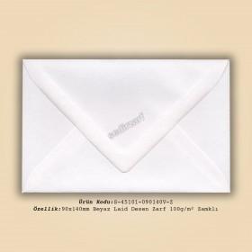 9x14cm Beyaz Laid Desen Zarf 100gr/m² Zamklı