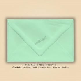 9x14cm Yeşil 1.Hamur Zarf 100gr/m² Zamklı