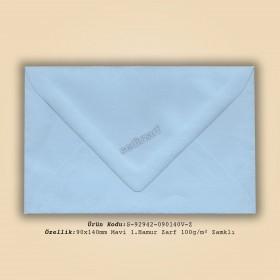 9x14cm Mavi 1.Hamur Zarf 100gr/m² Zamklı