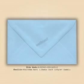 9x14cm Mavi 1.Hamur Zarf 120gr/m² Zamklı