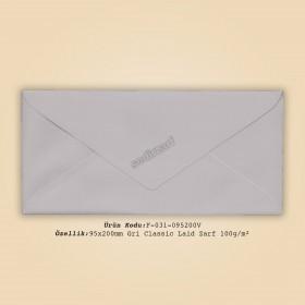9,5x20cm Gri Classic Laid Zarf 100gr/m²