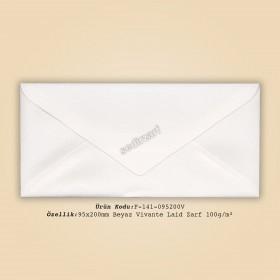 9,5x20cm Beyaz Vivante Laid Zarf 100gr/m²
