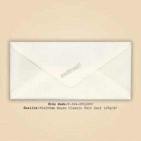 9,5x20cm Beyaz Classic Felt Zarf 120gr/m²