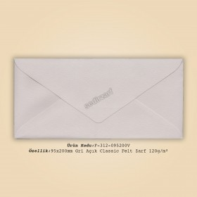 9,5x20cm Gri Açık Classic Felt Zarf 120gr/m²