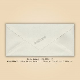 9,5x20cm Beyaz Kırçıllı Classic Flanel Zarf 100gr/m²
