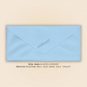 9,5x20cm Mavi Laid Desen Zarf 100gr/m²