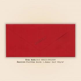 9,5x20cm Bordo 1.Hamur Zarf 80gr/m²