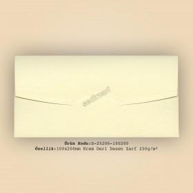 10x20cm Krem Deri Desen Zarf 250gr/m²