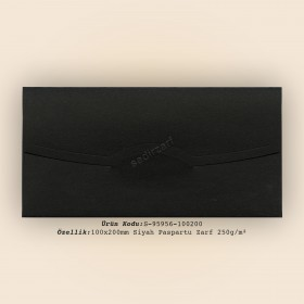 10x20cm Siyah Paspartu Zarf 250gr/m²