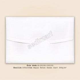 10.5x15.5cm Beyaz Keten Desen Zarf 250gr/m²