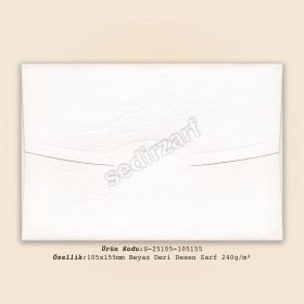 10,5x15,5cm Beyaz Deri Desen Zarf 240gr/m²
