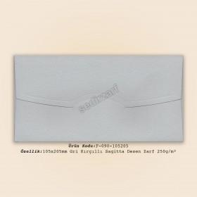10.5x20.5cm Gri Kırçıllı Sagitta Desen Zarf 250g/m²