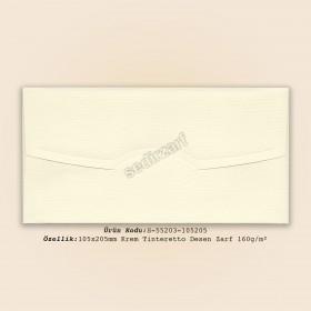 10,5x20,5cm Krem Tinteretto Desen Zarf 160gr/m²