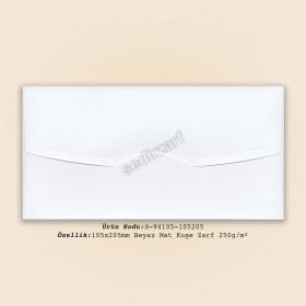 10.5x20.5cm Beyaz Mat Kuşe Zarf 250gr/m²