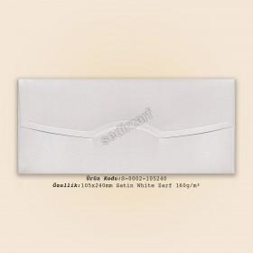10,5x24cm Satin White Zarf 160gr/m²