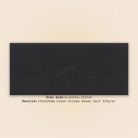 10,5x24cm Siyah Prisma Desen Zarf 220gr/m²