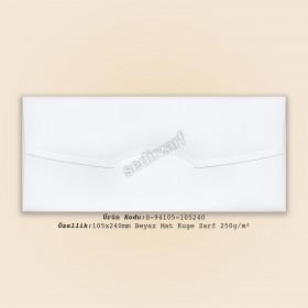 10,5x24cm Beyaz Mat Kuşe Zarf 250gr/m²