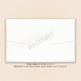 11x17,5cm Beyaz İpek Desen Zarf 250gr/m²