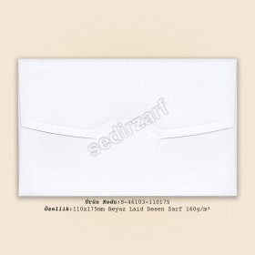 11x17,5cm Beyaz Laid Desen Zarf 160gr/m²