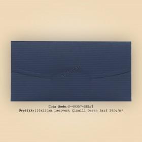 11x22cm Lacivert Çizgili Desen Zarf 280gr/m²