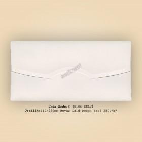 11x22cm Beyaz Laid Desen Zarf 250gr/m²