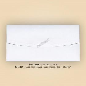 11x22cm Beyaz Laid Desen Zarf 120gr/m²