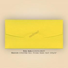 11x22cm Sarı Prisma Desen Zarf 220gr/m²