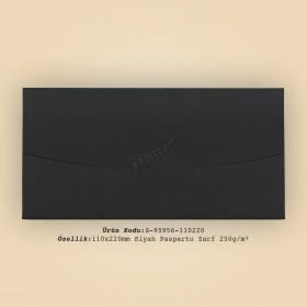 11x22cm Siyah Paspartu Zarf 250gr/m²