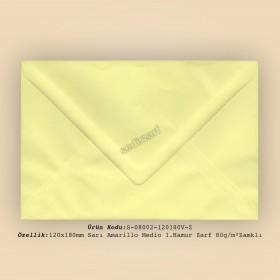 12x18cm Sarı Amarillo Medio 1.Hamur Zarf 80gr/m² Zamklı