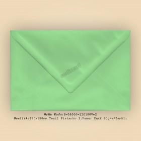 12x18cm Yeşil Pistacho 1.Hamur Zarf 80gr/m² Zamklı