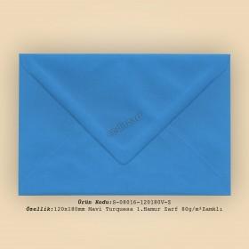 12x18cm Mavi Turquesa 1.Hamur Zarf 80gr/m² Zamklı