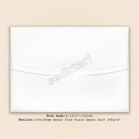 13x18cm Beyaz  İnce Tuale Desen Zarf 280gr/m²