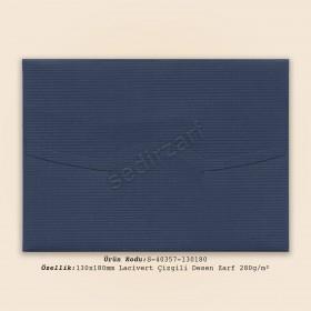 13x18cm Lacivert Çizgili Desen Zarf 280gr/m²