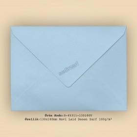 13x18cm Mavi Laid Desen Zarf 100gr/m²