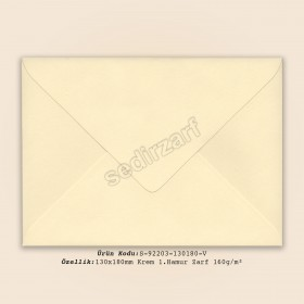 13x18cm Krem 1.Hamur Zarf 160gr/m²