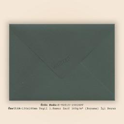 13x18cm Yeşil 1.Hamur Zarf 160gr/m² (Boyama) İçi Beyaz