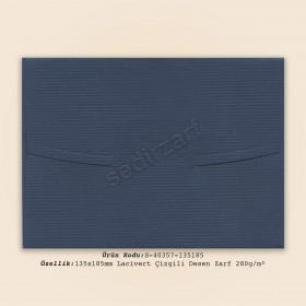 13.5x18.5cm Lacivert Çizgili Desen Zarf 280gr/m²