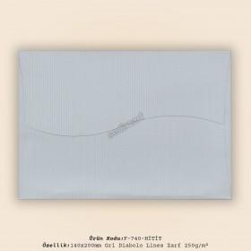 14x20cm Gri Diabolo Lines Zarf 250gr/m²