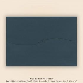 14x20cm Yeşil Diabolo Prisma Desen Zarf 250gr/m²