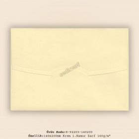 14x20cm Krem 1.Hamur Zarf 160gr/m²