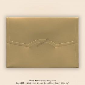 14x20cm Altın Metalize Desen Zarf 250gr/m²