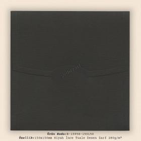 15x15cm Siyah İnce Tuale Desen Zarf 280gr/m²