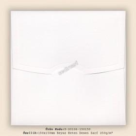 15x15cm Beyaz Keten Desen Zarf 250gr/m²