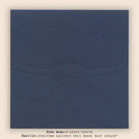 15x15cm Lacivert Deri Desen Zarf 160gr/m²