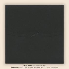 15x15cm Siyah Prisma Desen Zarf 220gr/m²