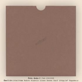 15x15cm Kahve Diabolo Lines Desen Zarf 250gr/m² Kapaksız