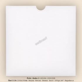15x15cm Beyaz Keten Desen Zarf 250gr/m² Kapaksız