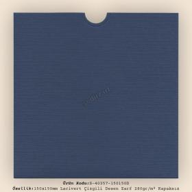 15x15cm Lacivert Çizgili Desen Zarf 280gr/m² Kapaksız