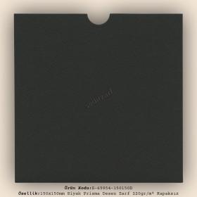 15x15cm Siyah Prisma Desen Zarf 220gr/m² Kapaksız